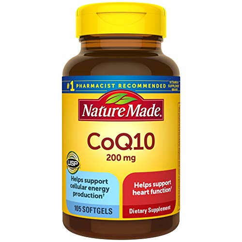 Nature Made CoQ10 200 mg Softgels, 105 Count for Heart Health and Cellular Energy production.†...