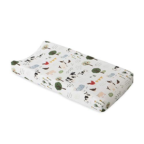 """Red Rover Kid Muslin Changing Pad Cover – 16"""" x 32"""" - 100% Cotton – Machine Washable – Standard Size - Stitched Holes for Safety Straps – Lightweight & Breathable – Unisex (Family Farm)"""