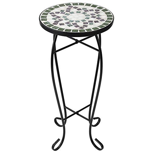 Display4top Mosaic Round Outdoor Accent Table,Plant Flower Stand,Round Side Table (Green-white)