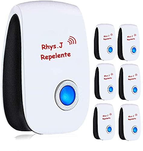 Rhys.J 6 Confezioni di Repellente ad ultrasuoni, Repellente per parassiti elettronici, antiparassitari Contro formiche, zanzare, Topi, pulci, Mosca, Ragno, scarafaggi