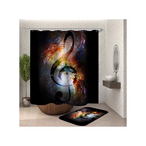 Bishilin Badezimmerteppich Set 2 Stück, Musik Note Badematte WC Vorleger 40x60 Polyester-Stoff Duschvorhang Waschbar 180x200
