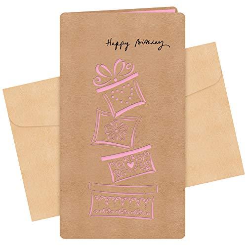 CHIMIVV Dankeskarten Vintage Kraftpapier Grußkarte Openwork Kraftpapier Kreative Retro DIY Geburtstagskarte Postkarte Handgemacht Segen Geschenk.(Geschenk)