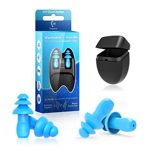 Natación Tapones para los oídos, Eargrace 2 pares de tapones para los oídos con reducción de ruido de silicona impermeable reutilizable para nadar, ducharse, trabajar, dormir, estudiar y otros ruidos