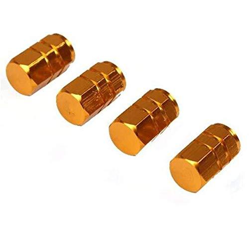 ZFX-LTMAO, 4 STÜCKE Universal Auto Reifen Ventilkappen Diebstahlsicher Aluminium Auto Rad Reifen Ventile Auto Reifen Luftkappen Luftdichte Bucht (Color : Gold)