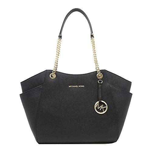 """Size Approximate Measurements: 11"""" -14"""" (L) x 10.5"""" (H) x 4.5"""" (D) Saffiano leather Gold-tone hardware Double handles with leather & chains with 10""""shoulder drop Interior: 1 zippered pocket & 4 slip pockets"""