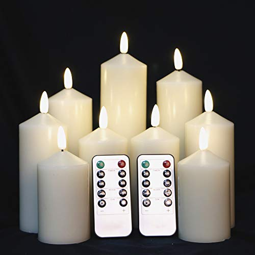 Set of 9 Flameless Ivory LED Candles with Remote Control Pillar Battery Operated Candles with Flickering Flame Timer