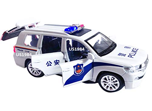 US1984 Die-Cast 4 Wheel Drive Metal Car Pull Back with Police Siren Sound, 6 Openable Doors, Engine Cover, Front and Rear Light & Music for Boys and Girls White (Police Car)