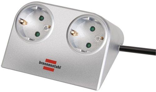 Brennenstuhl Desktop-Power, Steckdosenleiste 2-fach für den Tisch (Tischsteckdose mit 1,8m Kabel und Gummifüßen für sicheren Stand) silber