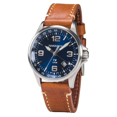 Torgoen T9 Blue GMT Pilot Watch for Men, Swiss Quartz, Mineral Crystal with Brown Leather Strap