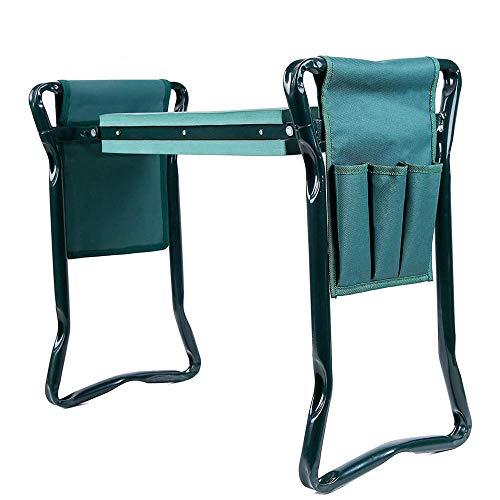 ANBAI - 1 juego de sillas plegables de acero inoxidable para jardín con bolsa de herramientas y rodilleras para un cómodo asiento al aire libre en el jardín, verde
