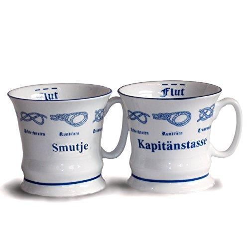 Unbekannt 2er Set Kaffeebecher Herrenbecher Smutje + Kapitänstasse | Tassenset aus Porzellan mit Seemannsknoten