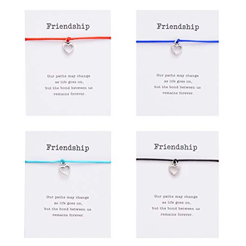 PIPITREE Friendship Bracelet Jewelry Heart Charm Bracelet for Best Friends Red String Braided Wish Bracelet(4Pcs)