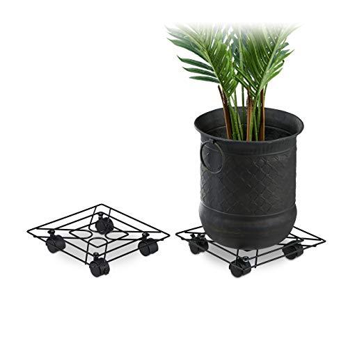 Relaxdays Pflanzenroller eckig, 2er Set, innen & außen, mit Bremse, Rolluntersetzer Blumentopf, Metall, 28x28cm, schwarz, 2 Stück