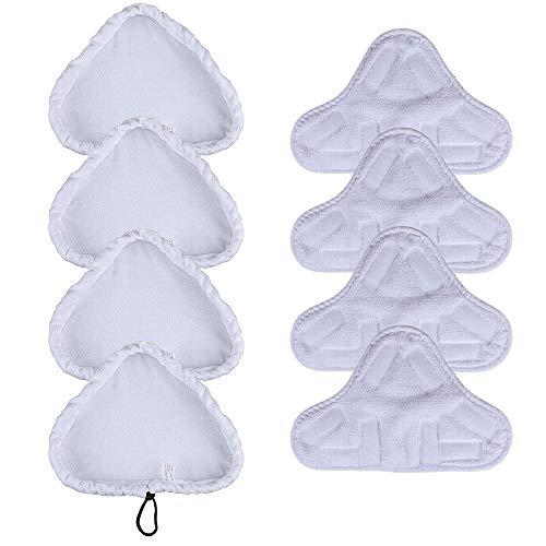 Panni per scopa a vapore, set di 8 universale in microfibra lavabili ricambio compatibile con pulitore a vapore H2O MOP X5 e Vax