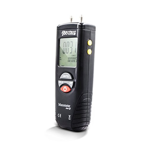 FOSHIO Large LCD Display Digital Manometer with Backlight 25? Air Pressure Meter and Differential Pressure Gauge HVAC Gas Pressure Tester 0.3/% FSO Temperature Measuring -40 to 80?