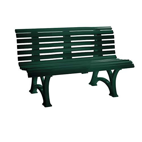 BLOME Parkbank aus Kunststoff - mit 13 Leisten - Breite 1500 mm, moosgrün - Bank Gartenbank Kunststoff-Bank Kunststoff-Bänke Ruhebank