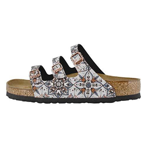 Birkenstock Womens Florida Fresh Sandal, Boho Flowers Navy, Size 37 EU (6-6.5 M US Women)