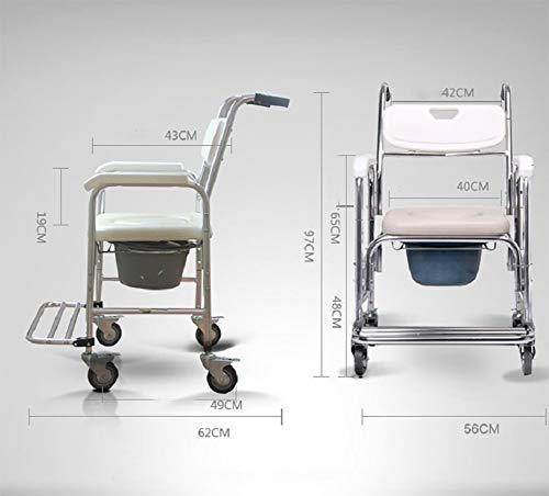 Kommode Mobiler Stuhl Toilettenstuhl Sitz Rollstuhl Dusche Transport Stuhl mit 4 Bremsen Für Bad WC Hocker Ältere