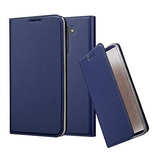 Cadorabo Hülle für LG Stylus 2 in Classy DUNKEL BLAU - Handyhülle mit Magnetverschluss, Standfunktion & Kartenfach - Hülle Cover Schutzhülle Etui Tasche Book Klapp Style