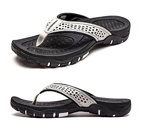 CELANDA Chanclas Piscina Hombre Verano Deportivo de Playa Sandalias Flip Flop Antideslizante Confortable Ducha Zapatillas Blanco 43EU