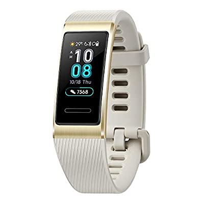 Huawei Band 3 Pro All-in-One Fitness Activity Tracker, 5ATM Water Resistance for Swim, 24/7 Heart Rate Monitor, Built-in GPS, Multi-Sports Mode, Sleep Tracking, Gold, One Size