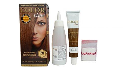 Packung mit 2 x Permanentfärbemitteln für Haarfarbe Caramel 75