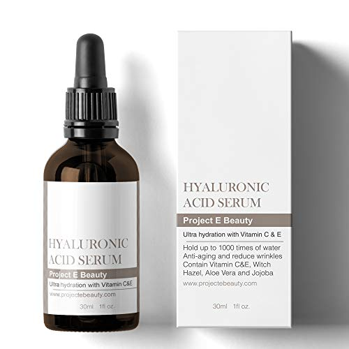 Project E Beauty Hyaluronic Acid Serum with Vitamin C & Vitamin E Plumping, Anti-Aging, Hydrating, Moisturizing, Dark Spot Remover for Skin, Facial & Eyes Treatment 1oz