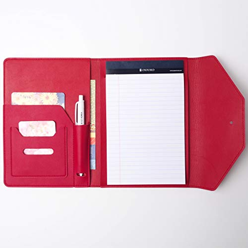 AHZOA Colorful 3 Pockets A5 Size Memo Padfolio S9, Including 5 X 8 Inch Legal Writing Pad, Synthetic Leather Handmade About 6.3 X 8.5 Inch Folder Clipboard Holder (Red)