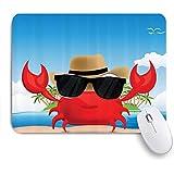 EILANNAマウスパッド 熱帯の島の夏休みに黒いサングラスと帽子をかぶったカニのクールな甲殻類 ゲーミング オフィス最適 高級感 おしゃれ 防水 耐久性が良い 滑り止めゴム底 ゲーミングなど適用 用ノートブックコンピュータマウスマット