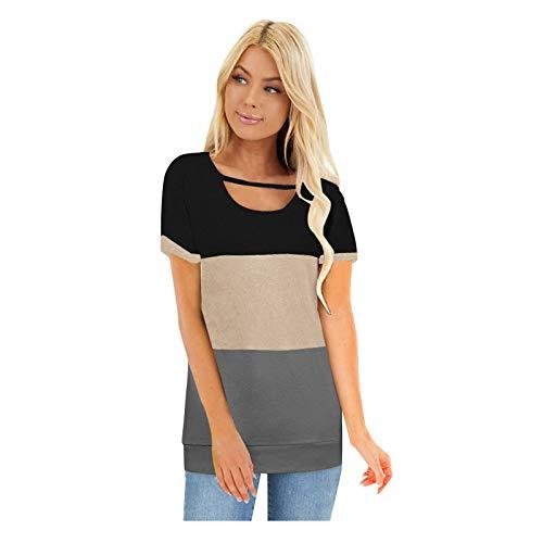URIBAKY - Camiseta de manga corta para mujer, multicolor, para deporte, cuello redondo, informal, de manga corta gris XXL