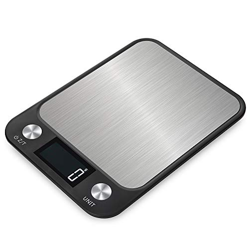 Decdeal 22lb Food Scale Digital Kitchen Scale LCD Display Scale Weight G OZ LB KG ML for Baking Cooking Stainless Steel Portable Food Scale 1g Precise