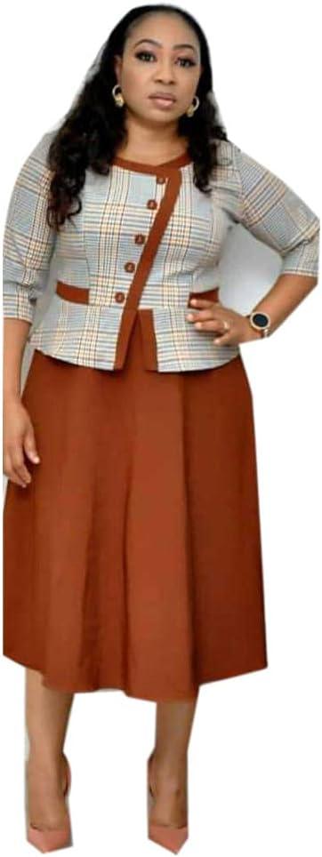 Plus Size Office Dress for Women Three Quarter Sleeve Round Neck Work Lady Elegant Bodycon Pencil Dress Swing Hem-Orange_XXXXL