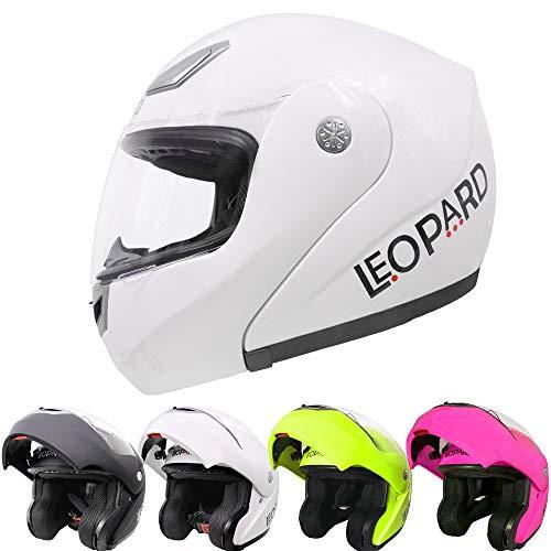 professionnel comparateur Motorcycle Helmet Leopard LEO-717 Modular Road Legal ECE R Homologation Male Female – # 03 White M… choix