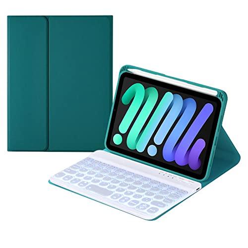 HaoHZ Funda Teclado para iPad Mini 6th Generation 2021, (Incluye Letra Ñ) 7 Colores, Funda Tipo Folio De Cuero con Teclado Desmontable Y Retroiluminada con Portalápices,Deep Green