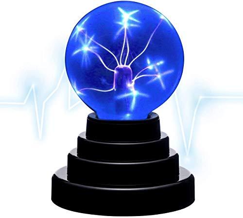 Rhelf Bola de plasma ligero azul Magic Toca sensible al tacto de...