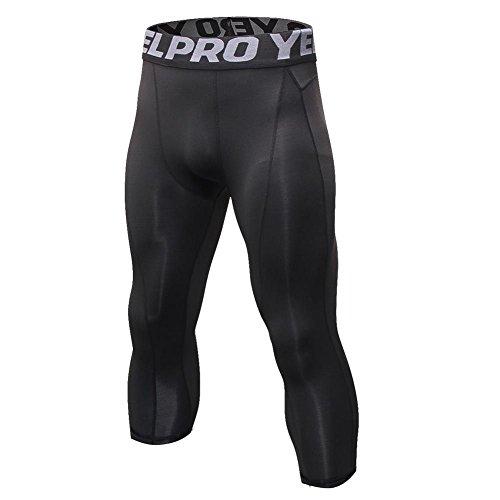 Bornbayb Hommes Power Stretch Plus Taille Sports Pantalons Court Collants de Course Séchage Rapide,M,Noir