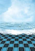 AOFOTO 7×10フィート 海の風景背景 ブルースカイとウォーター スピンドリフト ダークグレーとブルーの格子柄フロア 自然風景 写真撮影 背景 休暇 旅行 写真スタジオ 背景幕 スクリーン