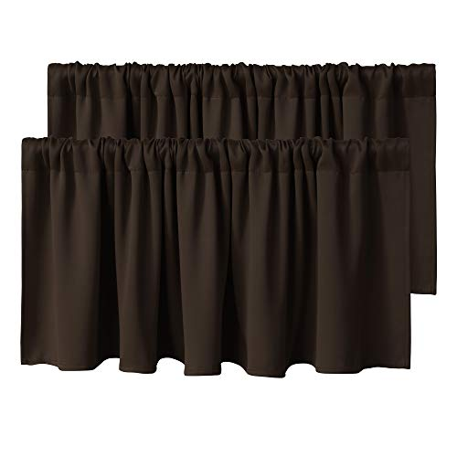 WONTEX Kitchen Curtains Valances, 52 x 18 inch Long, Brown, Set of 2 Pieces - Short Thermal Blackout Curtains for Small Window, Room Darkening Rod Pocket Cafe Curtain Panels