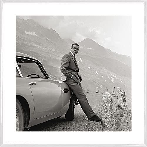 1art1 James Bond 007 Stampa d'Arte e Cornice (Plastica) - Sean Connery E Aston Martin (40 x 40cm)