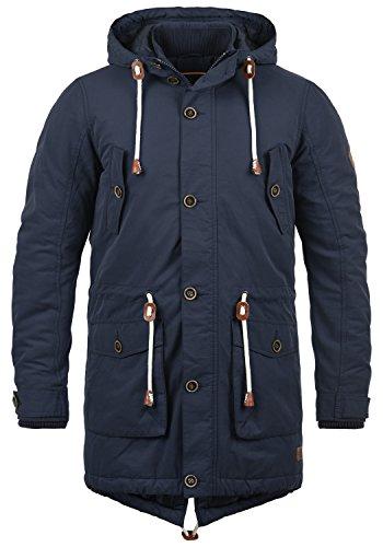 Blend Caesar Herren Winter Jacke Parka Mantel Lange Winterjacke gefüttert mit Stehkragen und Kapuze, Größe:XL, Farbe:Navy (70230)