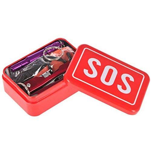 Gearmax Kits de Supervivencia SOS Emergency Box Autoayuda al Aire Libre Deporte Camping Senderismo Herramientas Kits de Supervivencia Survival Set para Viajes