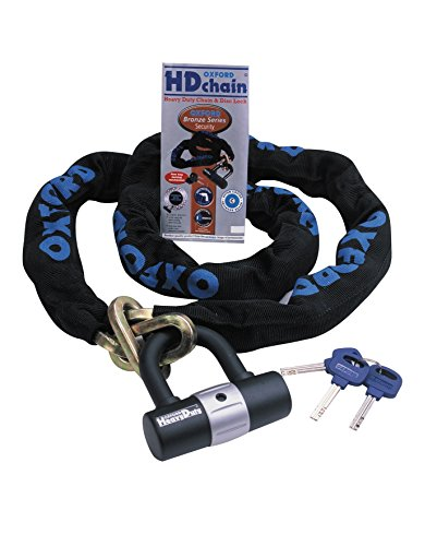 Oxford OF157 'HD Chain' 9.5mm Square Link Chain and Tough Double Locking Padlock
