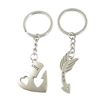 arrow and heart couple keychain