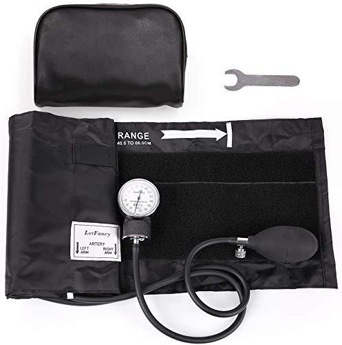 LotFancy Esfigmomanómetro Manual con Manguito de Presión Arterial Grande para Adultos, con Estuche con Cremallera Adecuado para Servicios de Emergencia, Médico, Práctica (Aprox.40,6cm - 66cm)