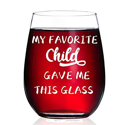 HAYOOU My Favorite Child Gave Me This Glass, Gifts for Mom Birthday Gifts from Daughter, Son, Kids - Mother's Day, Christmas Gifts Idea for Dad, Parents, Grandma, Women,15oz Wine Glass