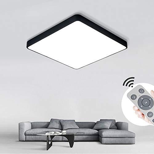 BRIFO 36W LED Deckenleuchte Dimmbar, Modern Lampe Design, Deckenlampe für Flur,Wohnzimmer,Büro,Küche,Energie Sparen Licht, Dimmbar (3000-6500K) Mit Fernbedienung (Schwarz 36W Quadrat Dimmbar)