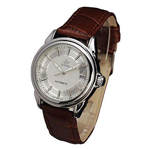 Sewor Herren-Armbanduhr, automatisch, mit Kalenderanzeige, wasserdicht, braunes Lederband