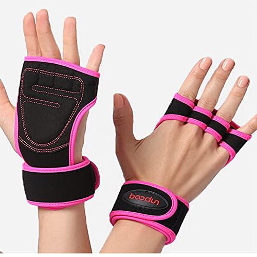 Guantes de entrenamiento cruzados, guantes antideslizantes para levantamiento de pesas, guantes de mano en forma de palma, con soporte de muñeca, adecuados para hombres y mujeres, color rosa rojo-L