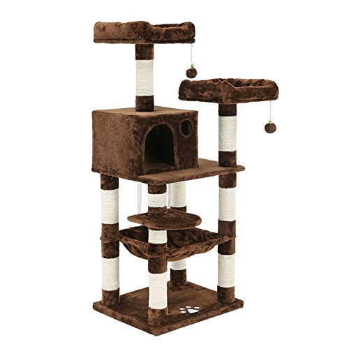 "SONGMICS 58"" Multi-Level Cat Tree with Sisal-Covered Scratching Posts, Plush Perches, Hammock and Condo, Cat Tower Furniture - for Kittens, Cats and Pets UPCT15Z"