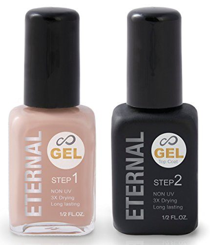 Eternal Gel Nail Polish Kit - Color and Clear Top Coat Gel, No UV Lamp Required (Nude)